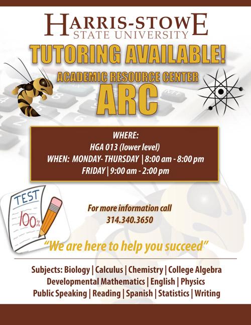 Harrisstowe State University Academic Resource Center Tutoring Help Arc Tutoring Hours